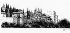 Alhambra desde el Sacromonte. Plumilla.