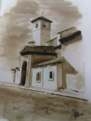 Iglesia de San Nicol�s. Albaic�n. Acuarela.