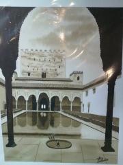 Patio de los Arrayanes. Alhambra. Acuarela.