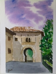 Puerta del Vino. Alhambra. Acuarela.
