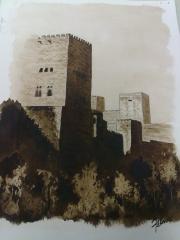 Torre de Comares. Alhambra. Acuarela.