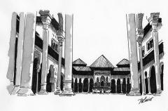 Patio de los Leones. Alhambra. Plumilla