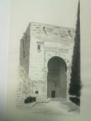 Puerta de la Justicia. Alhambra. Plumilla.