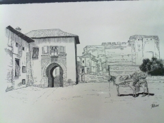 Puerta del Vino. Alhambra. Plumilla.