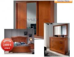 Dormitorio:Cabecero135, 2 mesitas, comoda, marco espejo y armario p/corredera.