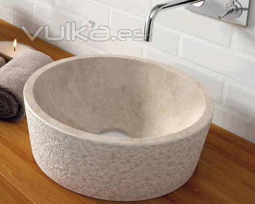 Foto lavabo de piedra dual beige ref 00307 natural series - Lavabos de piedra natural ...