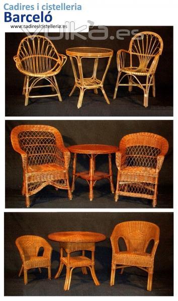 Sillas mesas y taburetes de madera cester a de mimbre en - Mesas de mimbre ...