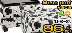 Mesa puff vaca con un 50% de descuento