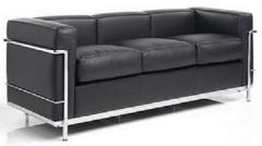 Sofá de diseño, petit, 3 plazas, piel negra.