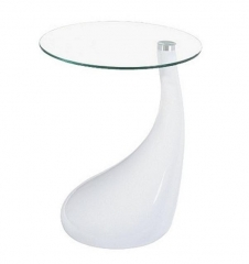 Mesa auxiliar pear, baja, abs blanco y cristal.