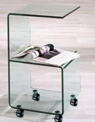 Mesa auxiliar s012, dise�o, cristal curvado, ruedas.