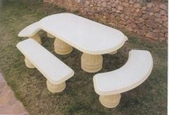 Mesas en piedra artificial.