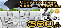Conjunto de jard�n mesa + 4 sillas + sombrilla