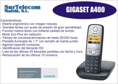 Tel�fono dect inal�mbrico siemens gigaset a400