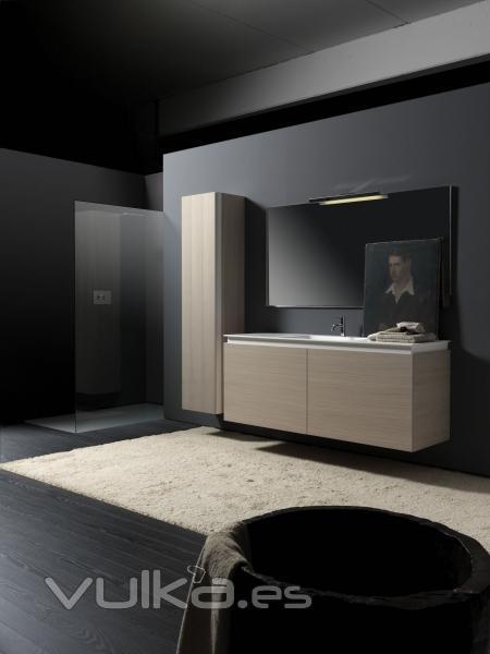 Foto conjunto mueble de ba o de lujo en madera y corian - Muebles de bano de lujo ...