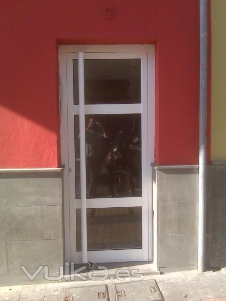 Foto puerta para exterior con tirador vertical for Puertas aluminio exterior