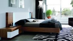 Composicion dormitorio en blanco y nogal