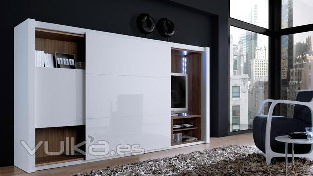 Foto muebles salon con puerta corredera - Puertas correderas para salon ...