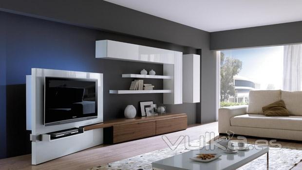 Foto muebles salon con modulo para tv movible for Modulos para salones modernos