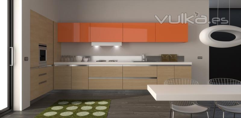 Foto muebles de cocina cocina laminado y naranja brillo for Muebles de cocina logos