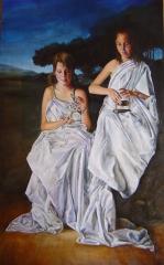 Retrato doble �leo sobre lienzo