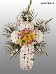 cruz de flores blancas,varios tama�os,color a elegir