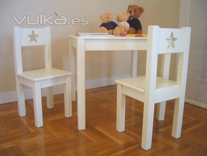 Foto silla y mesa infantil sena lacadas - Mesa madera infantil ...