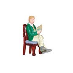 Señor sentado en resina para casas de muñecas