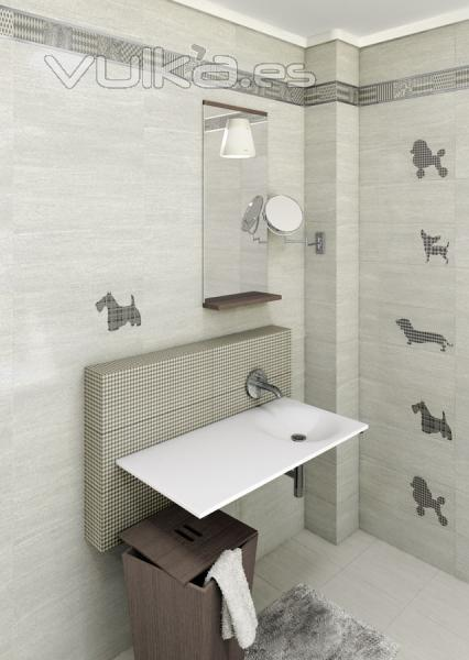 Foto serie santorini 20x50 revestimiento para ba o for Revestimientos para banos modernos