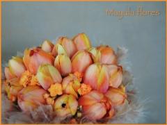 Ramo de novia  tulipanes naranjas mayula flores