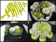 Diferentes centros de mesa para banquete de boda en blanco y pistacho mayula flores