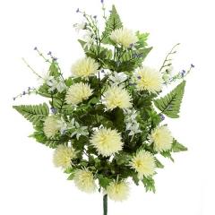 Ramo artificial de flores crisantemos minis crema en lallimona.com