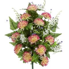 Ramo artificial de flores crisantemos minis jaspeado en lallimona.com