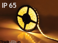 Tira de LEDs Blanco Cálido, 300 LEDs, 5 Metos. Con protección IP65 y cinta de Doble Cara 3M