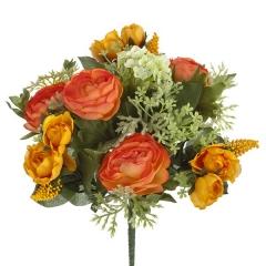 Bouquet flores artificiales ranunculos naranja 25 en lallimona.com