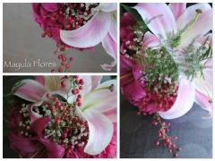 Ramo de novia en tonos rosas con hortensia mayula flores