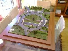 Maqueta de Obra civil, Rotonda con puentes met�licos y p�rgola