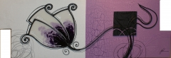 Cuadro moderno desigual flor morada novolar huelva