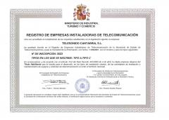 Instalador Autorizado Telecomunicaciones nº 3523
