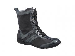 Xsensible-zapatos cómodos mujer-argentera-bota media caña plana con cordones, piel elástica