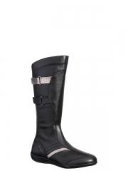 Xsensible-zapatos cómodos mujer-foundation-bota caña alta plana, piel elástica