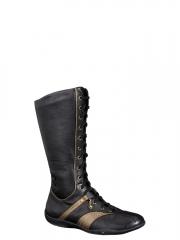 Xsensible-zapatos cómodos mujer-naughty-bota caña alta plana con cordones, piel elástica