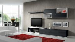 Combinacion de color blanco y pizarra para esta composicion de muebles del catalogo eli
