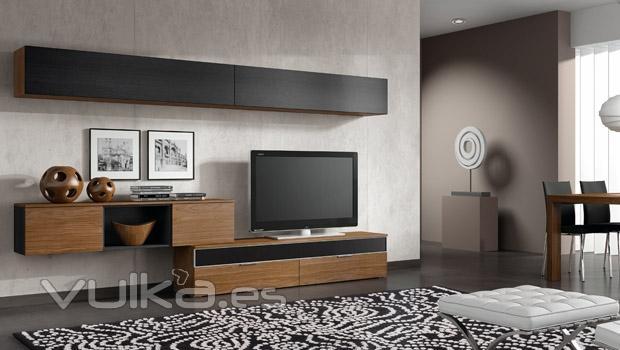 Foto muebles de salon comedor eli en color nogal - Muebles color nogal ...