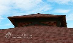 Detalle de cubierta a 4 aguas con  tela asfaltica + tegola americana