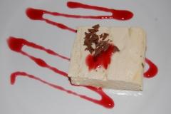 Pastel de queso con frambuesa