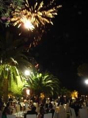Cena jardines - fuegos artificiales