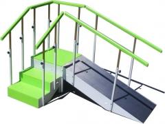 Escalera de 3 pelda�os con pasamanos regulable en altura (natural o lacado en verde, azul, blanco...