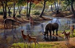 Representación de la vida animal en el valle de atapuerca, burgos, españa.
