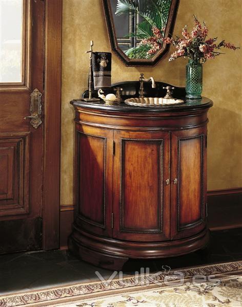 Mueble Baño Oriental:Mueble para baño con encimera de mármol y lavabo de bronze